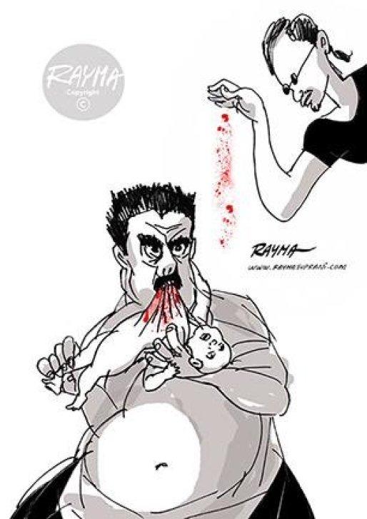 caricatura maduro y salt bae rayma